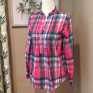Ralph Lauren Girls Pink Plaid Popover Shirt